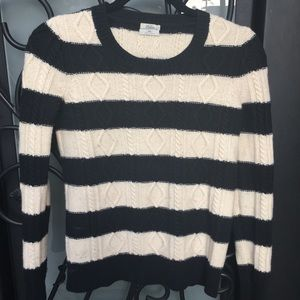 NWOT Madewell Wallace B&W Cable Wool Sweater